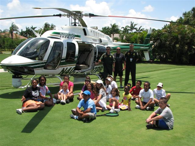 'Eagle I' PBSO helicopter lands at BallenIsles to open summer tennis program