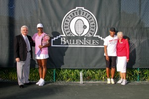 BallenIsles GM Derrick Barnett with Venus, Serena and BallenIsles Tennis Director Trish Faulkner