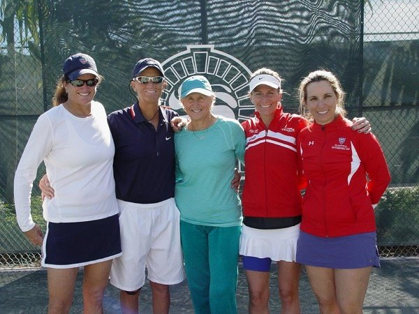 Les Grandes Dames International Tennis Tournament Celebrates 21st Anniversary at BallenIsles Country Club, with five days of exciting matches in the 30s through 80s age divisions. 40s doubles winners and finalists pose with BallenIsles Director of Tennis, Trish Faulkner (center). From Left: Finalists Trish Riddell, (Lakeland, FL) Mary Dailey, (Delray Beach, FL) with Faulkner (center) and winners Jennifer Bishop, (Toronto, ON) / Paula Myslivecek, (Boca Raton, FL).
